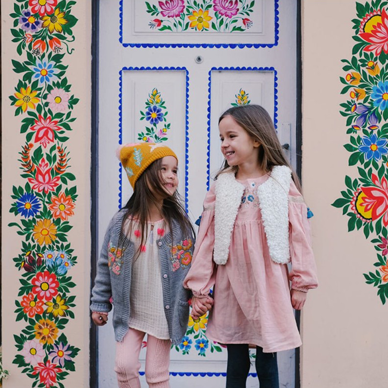 BOBOZONE Flowers Embroidery dress  winter vest for girls BOBOZONE Flowers Embroidery dress  winter vest for girls