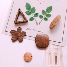 DIY materials accessories hand-made logs wood polished triangular flowers round texture ear pendant jewelry 8 pieces
