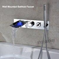 Не нужно батарея поток воды светодио дный питание светодиодный свет водопад для ванной душ Смесители Современный настенный Смесители для в