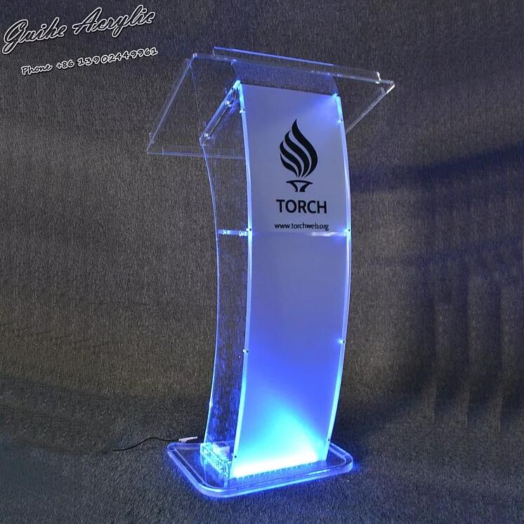 2020 Perfect Curved Surface Design Acrylic LED Podium Stand Desk The Newest Clear Cheap Podium GUIHEYUN