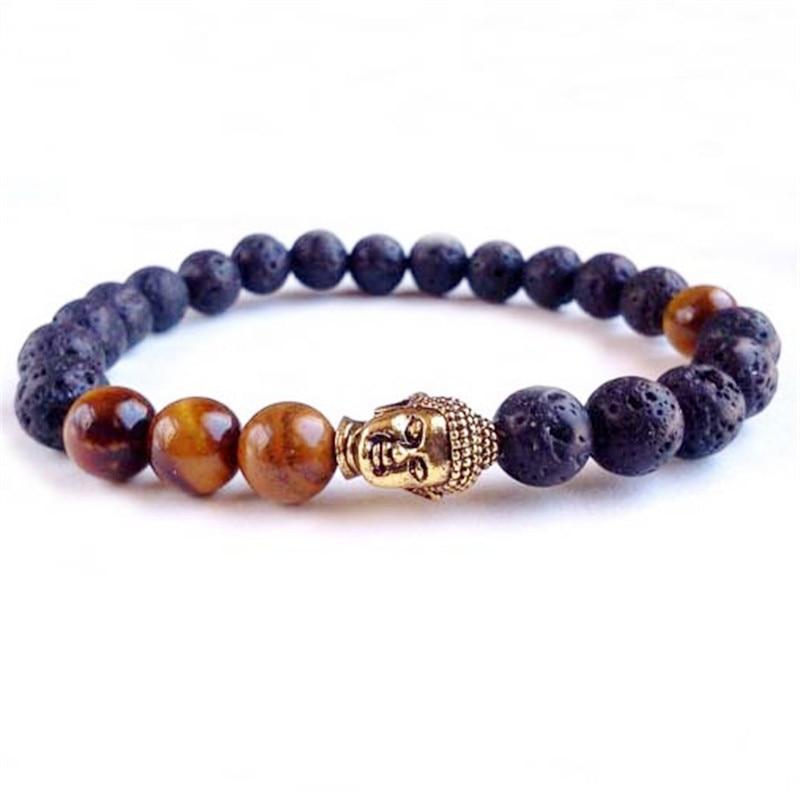 Hot Sale Men's Beaded Buddha bracelet, Tiger Eye Yoga Lava stone meditation Jewelry for Party Gift