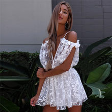HOT Selling Fashion High Quality Classic quality Womens See Through Lace Playsuit Ladies Plunge Holiday Short Jumpsuit #30(China)