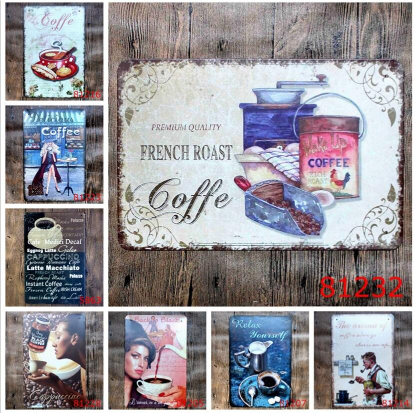 fashion 20*30cm FRENCH ROAST COFFEE delicous coffee Relax yourself Tin Sign outdoor Wall Art decoration Bar Metal Paintings