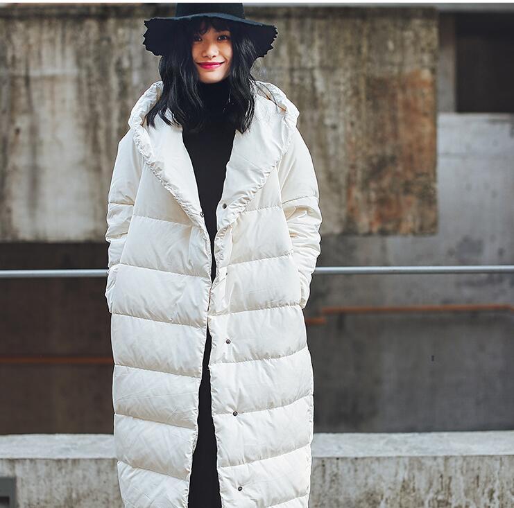 Свободные StyleWinter Для женщин куртка в стиле оверсайз пуховик Для женщин пуховик с капюшоном вниз пальто