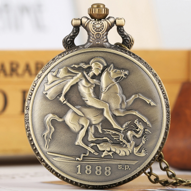 1888 Britt Horse Sword Bronze Coin Quartz Pocket Watch Vintage Antique The Crafts Victoria D:G: Britt:Reg:F:D: Art Collectibles