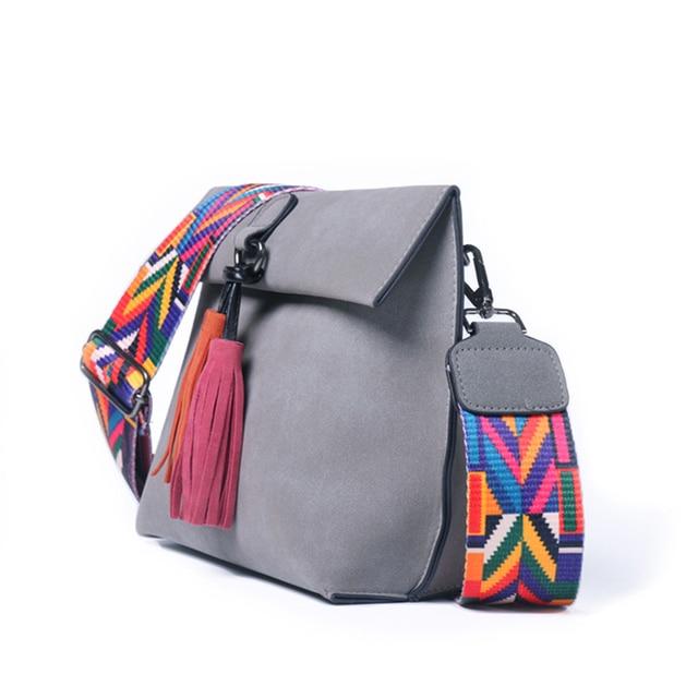 DAUNAVIA Brand Women Messenger Bag Crossbody Bag tassel Shoulder Bags Female Designer Handbags Women bags with colorful strap 2