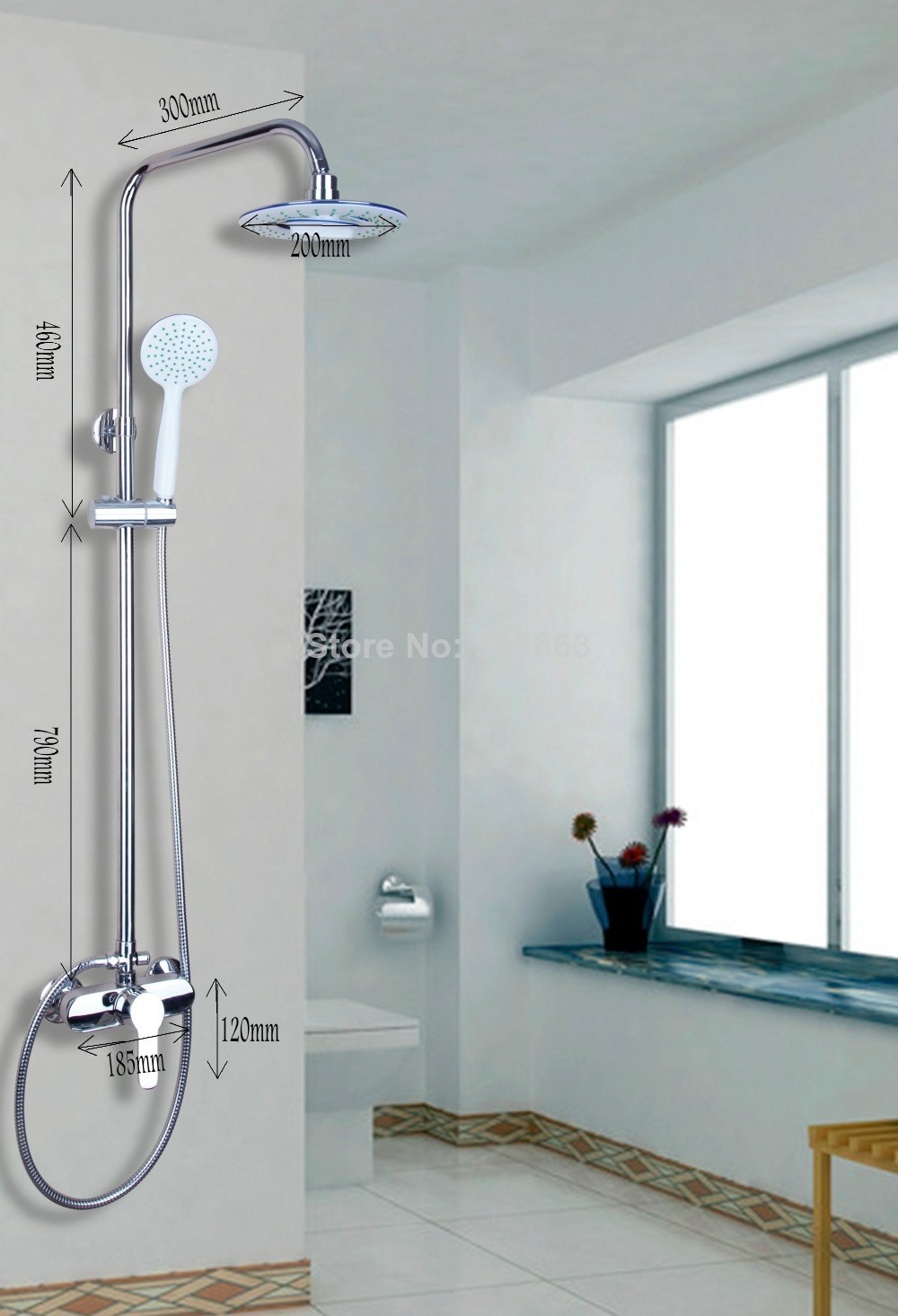 53609 New Bathroom Rain Shower System Hand Shower Head Tub Spout Set ...