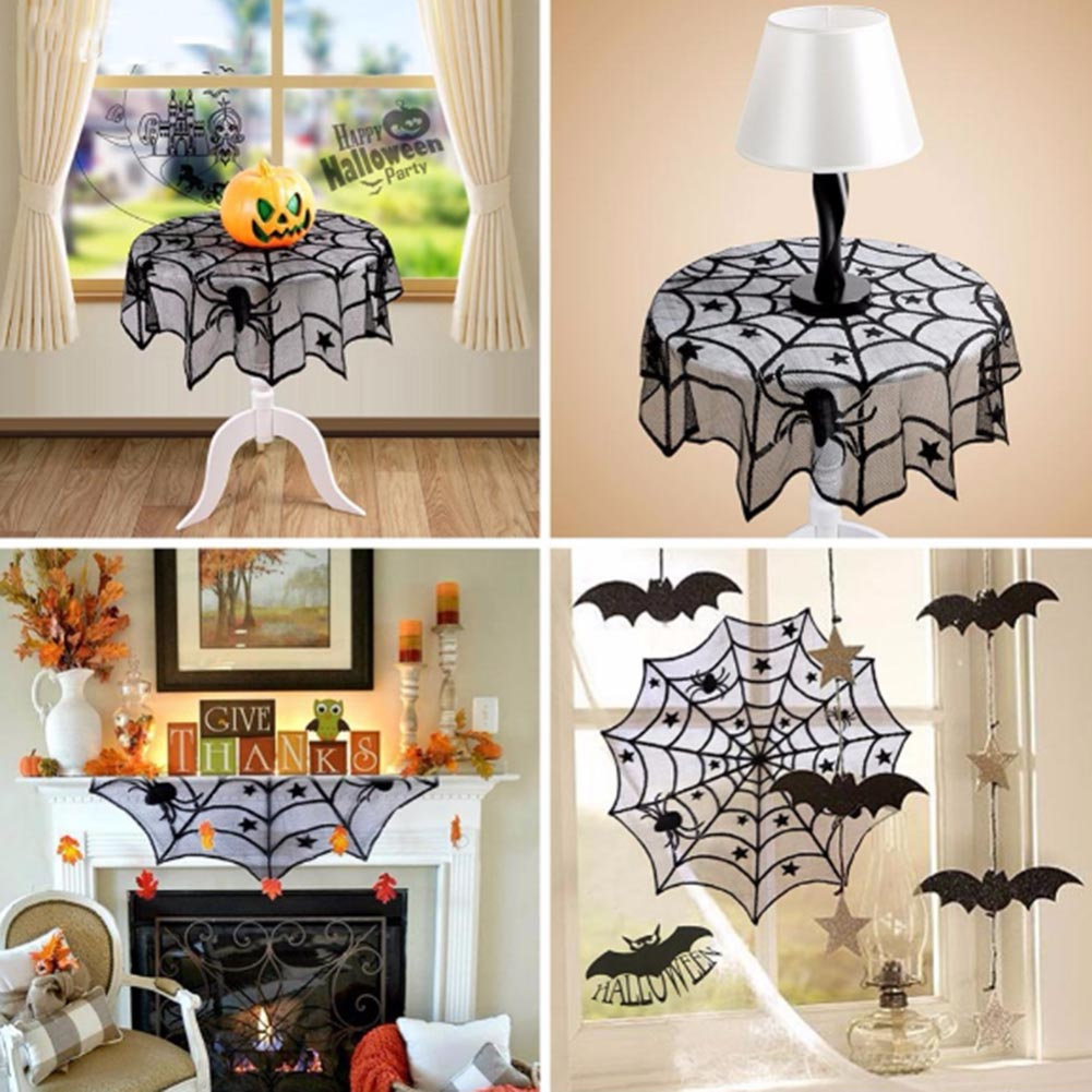 Halloween tablecloth - Halloween Tablecloth Black Spider Web Lace Mantle Halloween Party Home Decorative Table Cloth Background Decoration