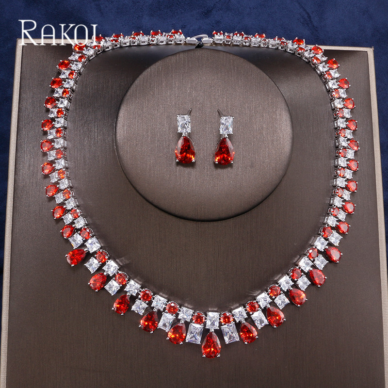 RAKOL Luxury Sparking Brilliant Cubic Zircon Drop Earring Necklace Heavy Dinner Jewelry Set Wedding Bridal Dress Accessories rakol 2018 new wedding costume accessories heart shape cubic zircon crystal bridal earrings and rhinestone necklace jewelry set
