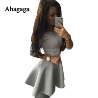 Ahagaga 2017 Summer Dress Women Casual Solid Black Red Gray A Line Sexy Dress Women Dresses