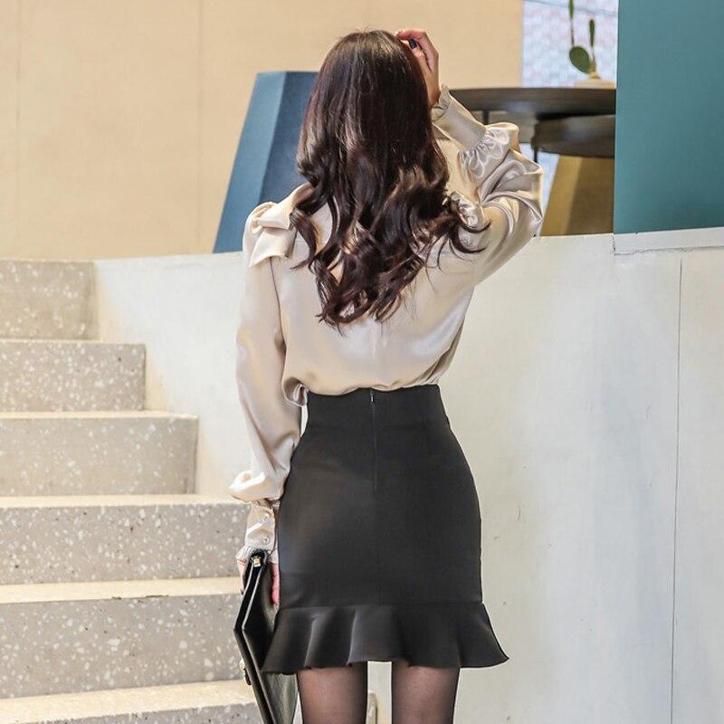 2018 Autumn V-Neck Bowknot Sexy Blouse Loose Shirt 2 Piece Cloth Sets Irregular Fishtail Bodycon Skirt Office Suit Dress