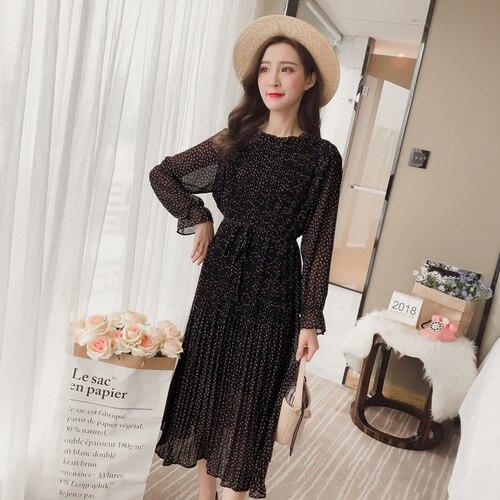 2018 sommer Mode Lange Frauen Kleid Koreanische kragen Floral Chiffon Gefaltete Plus Größe Dünne Weibliche Unterstützung Flare Hülse