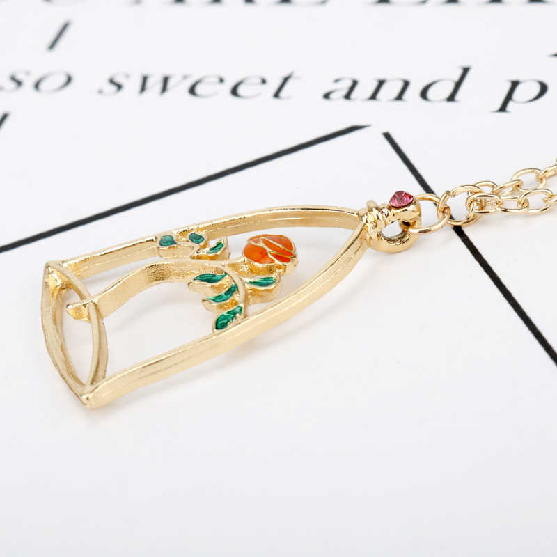 48a12fbe31 ... dongsheng Beauty and the Beast Rose Necklaces & Pendants Beauty Beast  Belle Rose Candle Statement Necklace ...