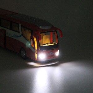 Image 3 - 1:32 Модели автомобилей из сплава, высокий симулятор городского автобуса, металлические Литые, игрушечные транспортные средства, тяговый, мигающий и музыкальный, бесплатная доставка