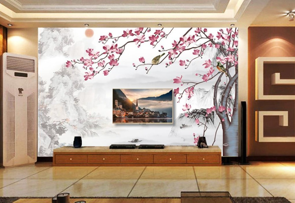 3d photo wallpaper 3d murals wallpaper custom New Chinese Ink Landscape mural Flowers Background Wall paper decoration painting custom 3d photo wallpaper murals hd cartoon mushroom room children s bedroom background wall decoration painting wall paper