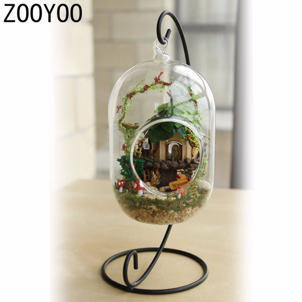 Miniature crystal ornaments - Zooyoo Diy Wooden Fairy Tree House Miniature Dollhouse Voice Control Led Light Crystal Glass Ball Kids Toy Hanging Decorations