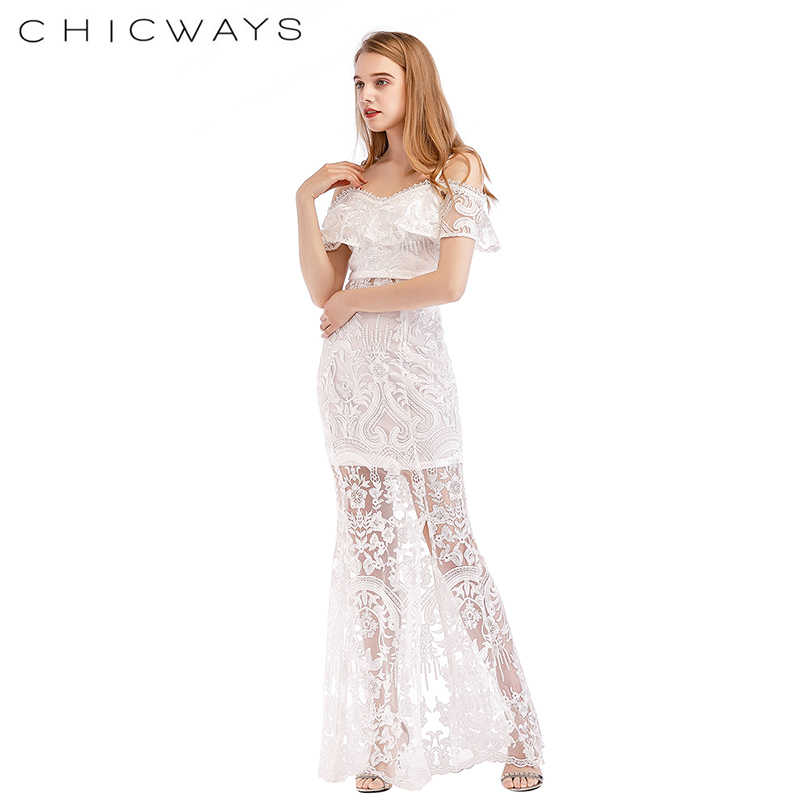dca34b35c7 ... Chicways White Lace Lavish Embroidery Cold Shoulder Crop Top And Maxi  Skirt set Front Slits Long ...