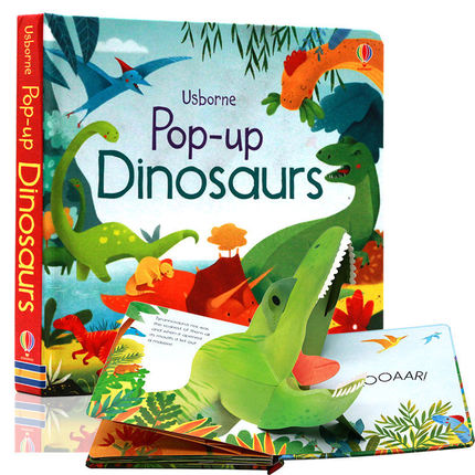 English Original Usborne Pop-Up Dinosaurs Dinosaur 3D Stereo Cardboard Flip Book Children Interesting Educational Book Age 2-6