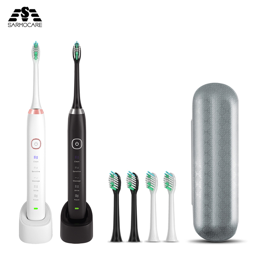 Sarmocare S100 Ultrasonic Sonic Electric Toothbrush LED Indicator Toothbrushes IPX7 Waterproof 5 Models Wireless Rechargeable