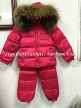 New style winter children's clothing/ baby down snowsuit set /child raccoon fur girls parka/ winter jackets boys