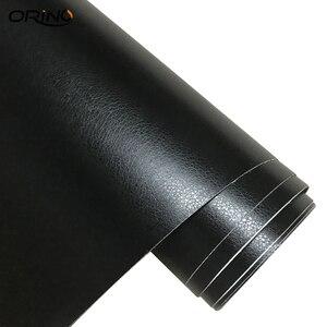 Image 4 - Pelle nera grana Texture vinile Car Wrap Sticker Decal Film foglio adesivo adesivo interno Car Styling rivestimento avvolgimento
