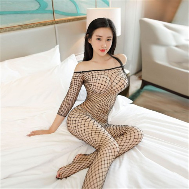 Ladies Sexy Fashion Socks Fishnet Sock Netwear Siameses Large Mesh Long Sleeve Siamese Perspective Sweet Pantyhose Women Product
