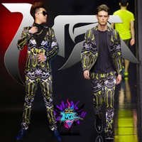 2019 nightclub male singer male DJ Europe and America catwalk GD personality stretch bright silk suit stage costume