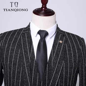 Men\'s Suit 2019 New Fashion Groom Wedding Dress High-end Party Business Striped Slim Suit 3 Piece Set (coat+ Vest+ Pants)