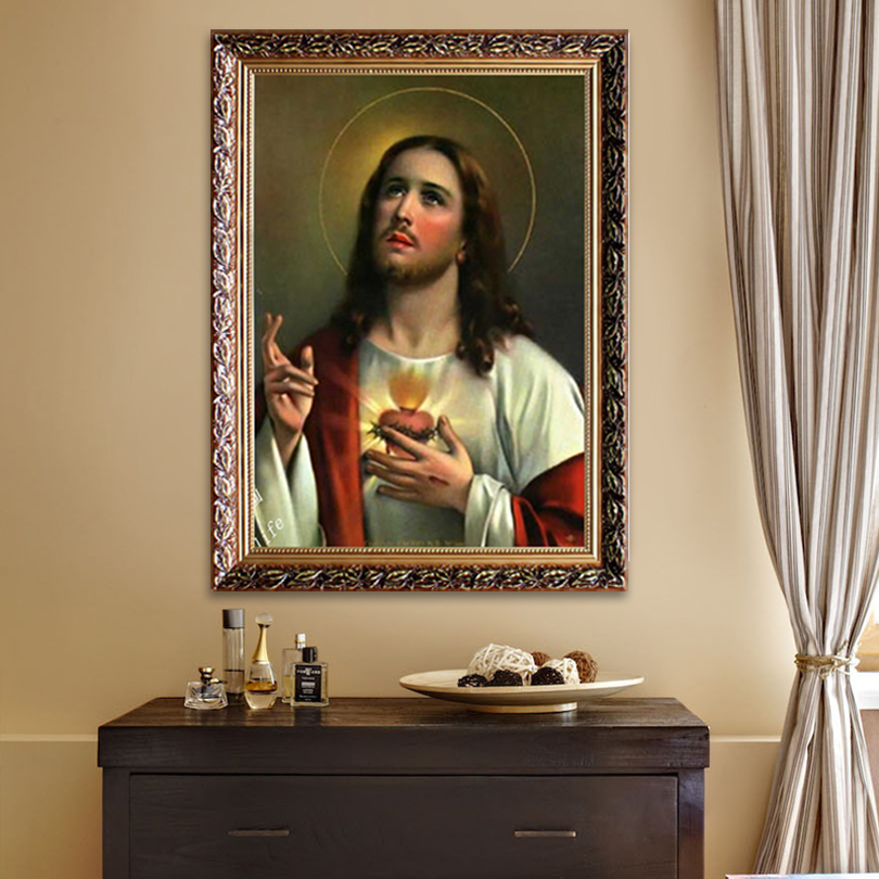 Jesus Christ Canvas print painting Poster and Print of Jesus Sacred Heart wall pictures for home decor quadros caudros decor03