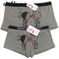 Men Funny Underwear for couples Bamboo women model Cute Kiss Lover Cartoon boxer shorts undies men panties Underpants trunks