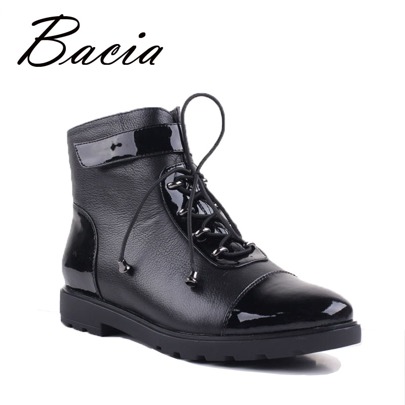 Bacia New Women Ankle Boots High Quality Handmade Genuine Leather Lace Up Shoes Russian Short Plush Black Boots Flat Shoes VD024 bacia russian original design boots knee high platform boot genuine leather quality shoes handmade footwear women botas vc001