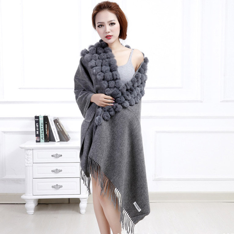 Womens Real Wool Shawl With Rabbit Fur Balls Tassels Wool Scarf Lady Winter Solid Warm Wrap Soft Fur Trim Pashmina Shawls LX0019