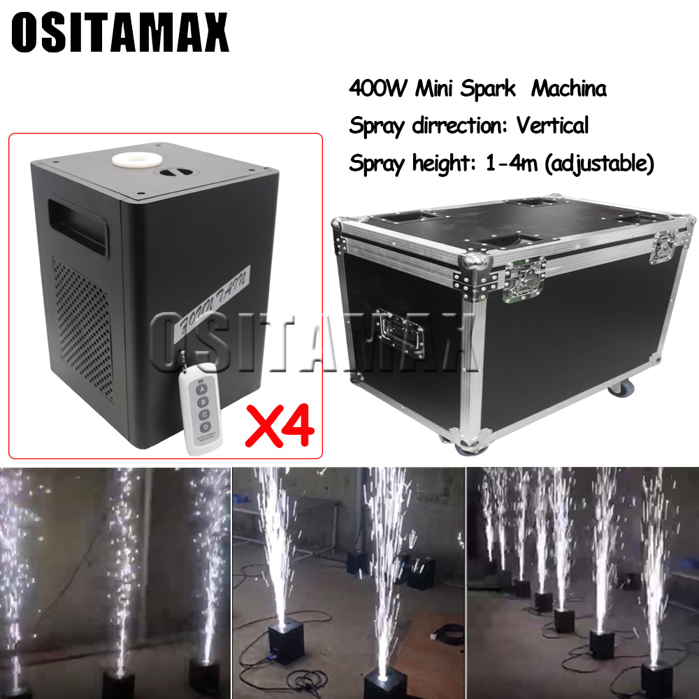 Vertical 2pcs/lot+flightcase+10bags Stage Cold Firework Machine 400w Cold Flame DMX and Remote Spark Equipment Wedding Fountain