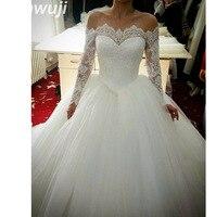 2018 Boat Neck Cheap Robe de Mariage Cheap Wedding Dresses Women Ball Gown Wedding Dress Vestido de Noiva Lace Bridal Gowns