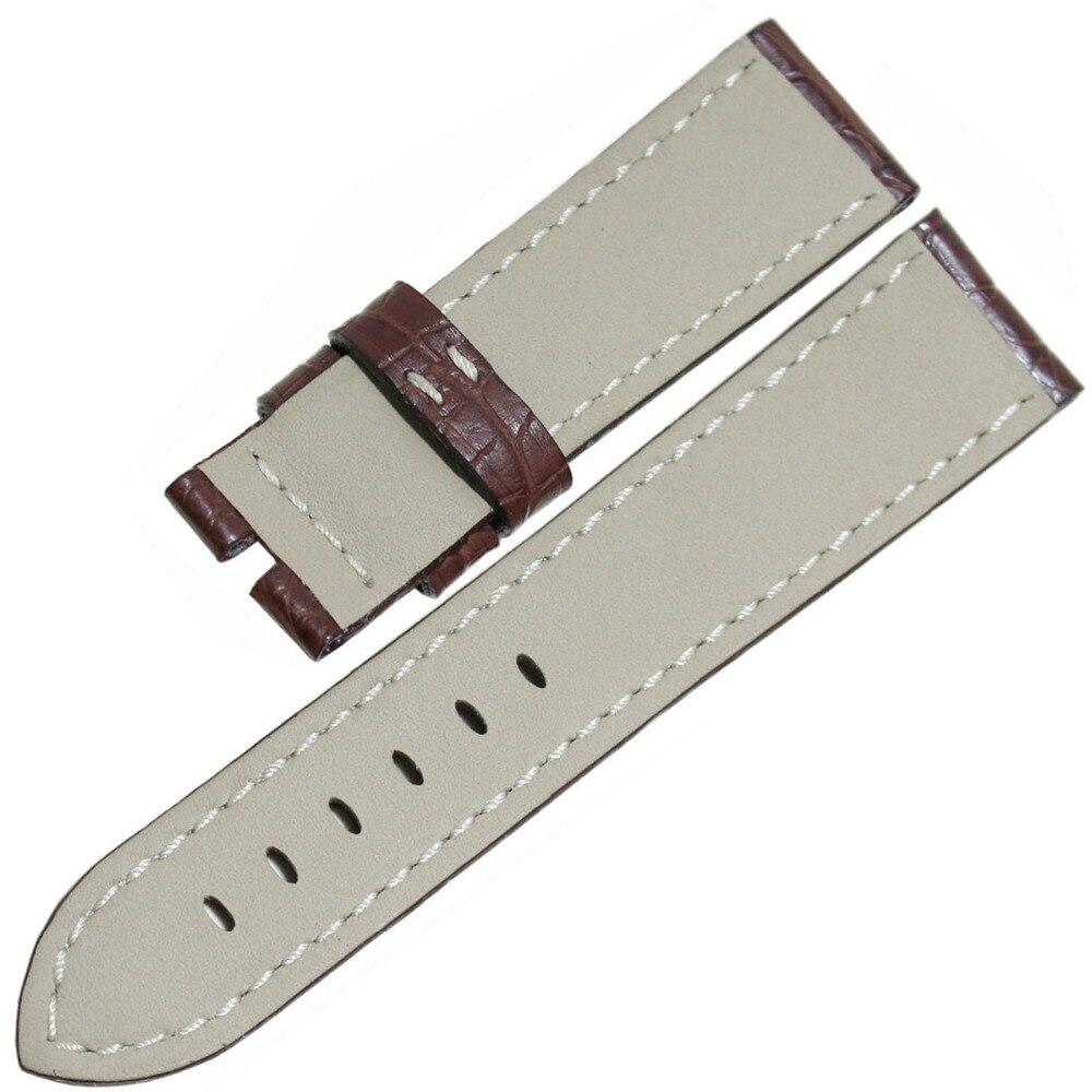 Pesno marron avec couture blanche luxe Alligator cuir beau Grain 22mm hommes véritable bracelet de montre pour Panerai - 6