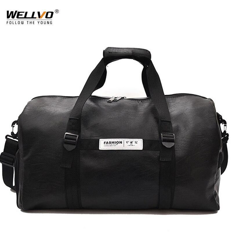 Для мужчин PU кожаная сумка мужской большой Crossbody сумки для Спортивный костюм унисекс Сумки дорожная сумка для обуви карман ночь XA232WC