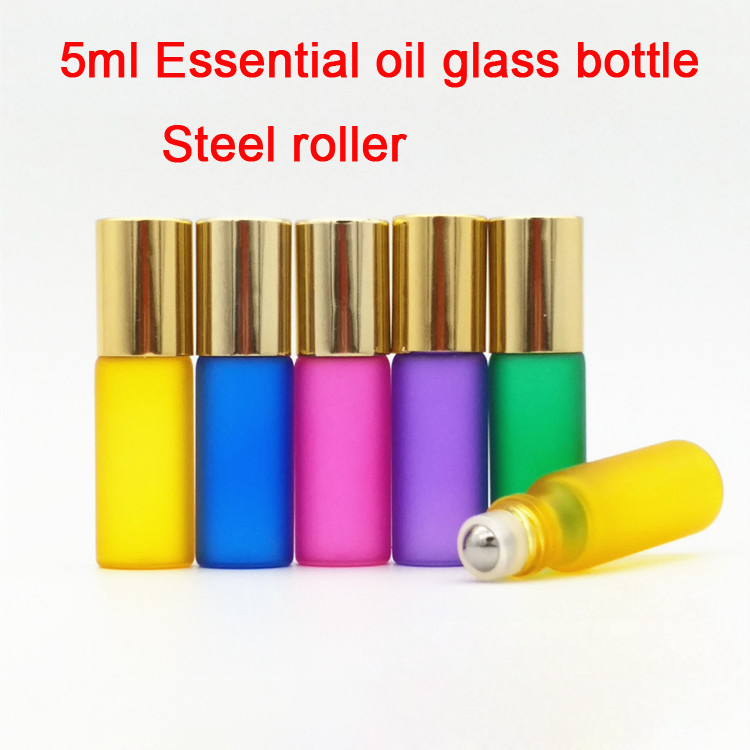 10/30/50pcs 5ML Five Colors Essential Oil Glass Bottle With Steel Roller balls, Cosmetic Sample Container,Perfume Packing Bottle