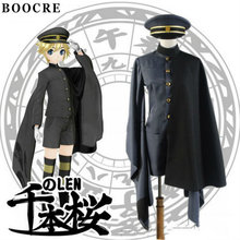 купить BOOCRE Senbonzakura Vocaloid Kagamine LEN Cosplay Costume Cosplay Kimono Army Uniform дешево