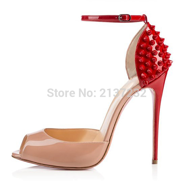 ФОТО 2016 New Fashion mixed colors super star style women's shoes high heel Sandals ankle-warp pumps with metal rivets big size 5-15