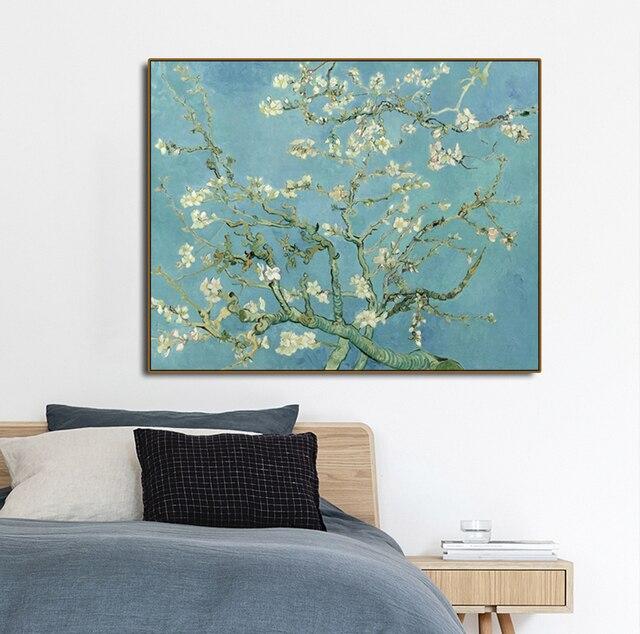 Toile de peinture calligraphie affiche | Motif de fleurs damandes, fleurs Van Gogh, motifs daffiches, peinture salon décoration de maison, tableau