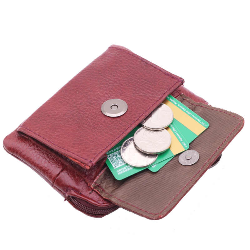 Mini carteras de cuero genuino para mujer, monedero pequeño para mujer, Tarjetero con cremallera mágica, bolsa de dinero para mujer con llave anillo