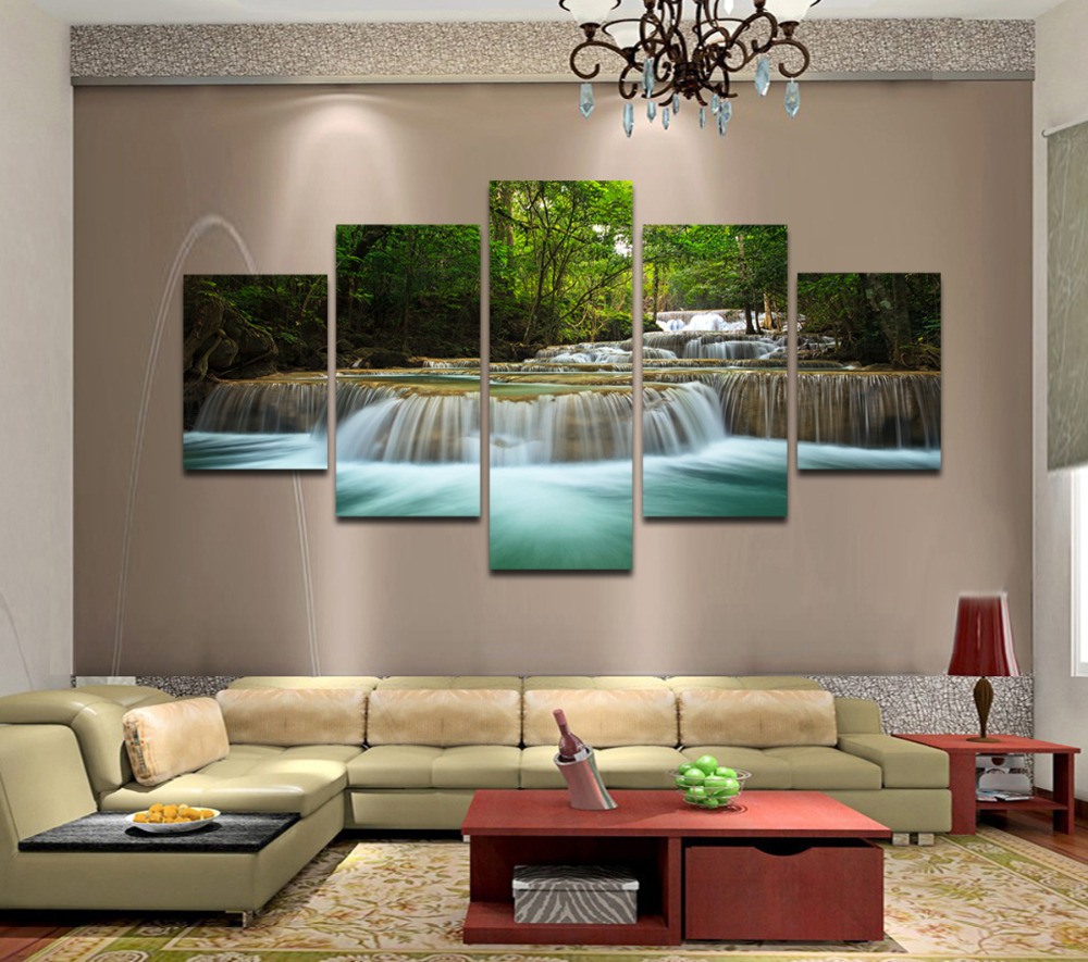5 panels huge hd beautiful green waterfall top rated canvas print for living room wall art. Black Bedroom Furniture Sets. Home Design Ideas