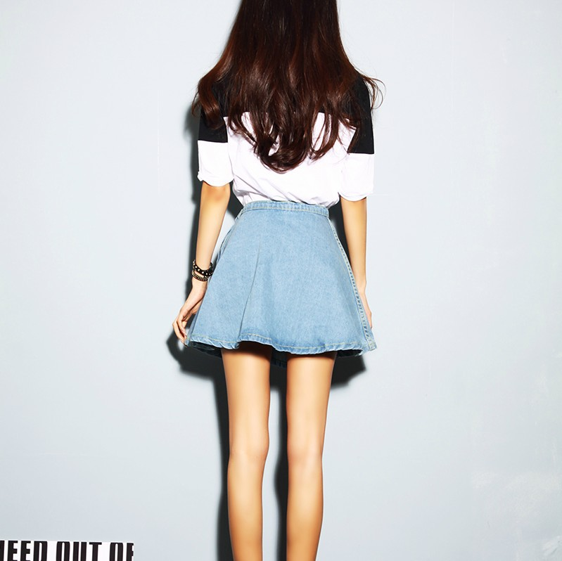 Flared Puff Denim Skirt Jeans Short High Waist Mini Skater ...
