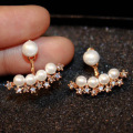 New star zircon simulated pearl ear jacket earrings for women bijoux fashion jewelry cute gold plated