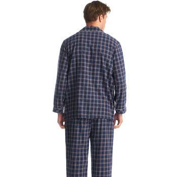 THREEGUN Men\'s Cotton 2019 Autumn Winter Plaid Pajamas Sets Long Sleeves Sleepwear Cardigan Pyjamas Men Print Casual Lounge Wear