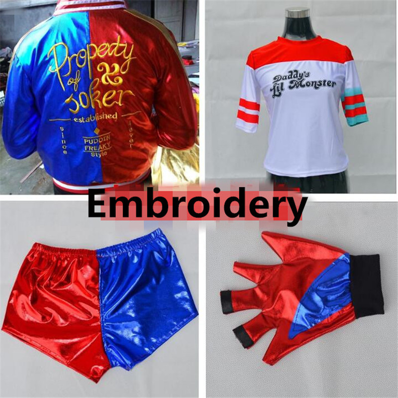 Suicide Squad Harley Quinn Children Girl Embroidery Costumes 4 Pcs Set Cosplay Halloween Christmas Party Adult woman Costumes