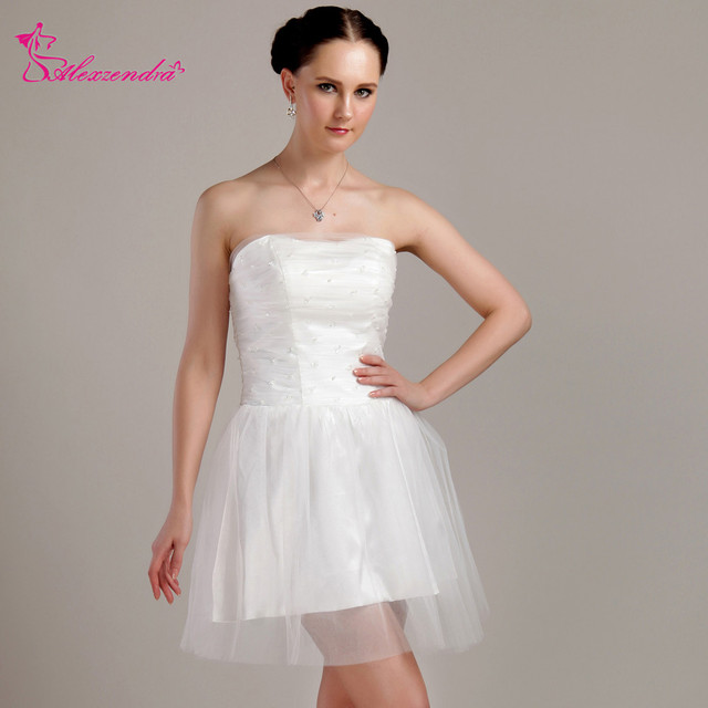 21a0b2576b1 Alexzendra Tulle Short Mini Wedding Dress 2018 Plus Size Strapless Pearls Simple  Bridal Gowns Custom Made