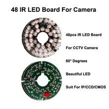 Бесплатная доставка новый 48 ИК ик-светодиодов инфракрасного ик совета для безопасности камеры видеонаблюдения 60 градусов костюм 75 диаметр видеонаблюдения ик-камеры из светодиодов доска