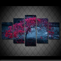 Artistic originality Indoor Art Abstract Indoor Decor H3 Tree wall decoration print canvas 5 pieces