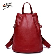 2017 бренд высокое качество из натуральной коровьей кожи женская рюкзак старинные рюкзак для девочек-подростков повседневные сумки женские сумки на ремне